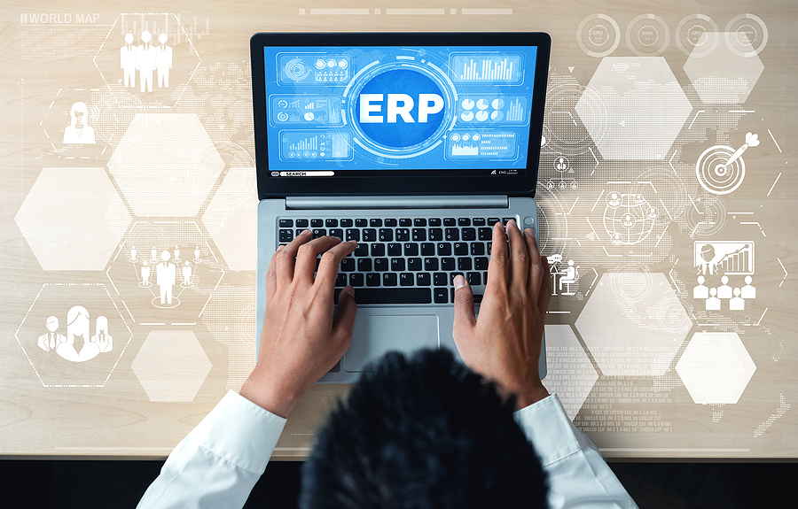 Worker using an ERP software in Australia
