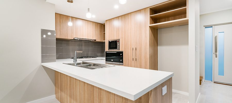 Modern Australian home with bamboo kitchen benchtop.