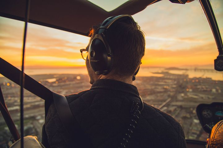 Male trainee acquiring his helicopter licence