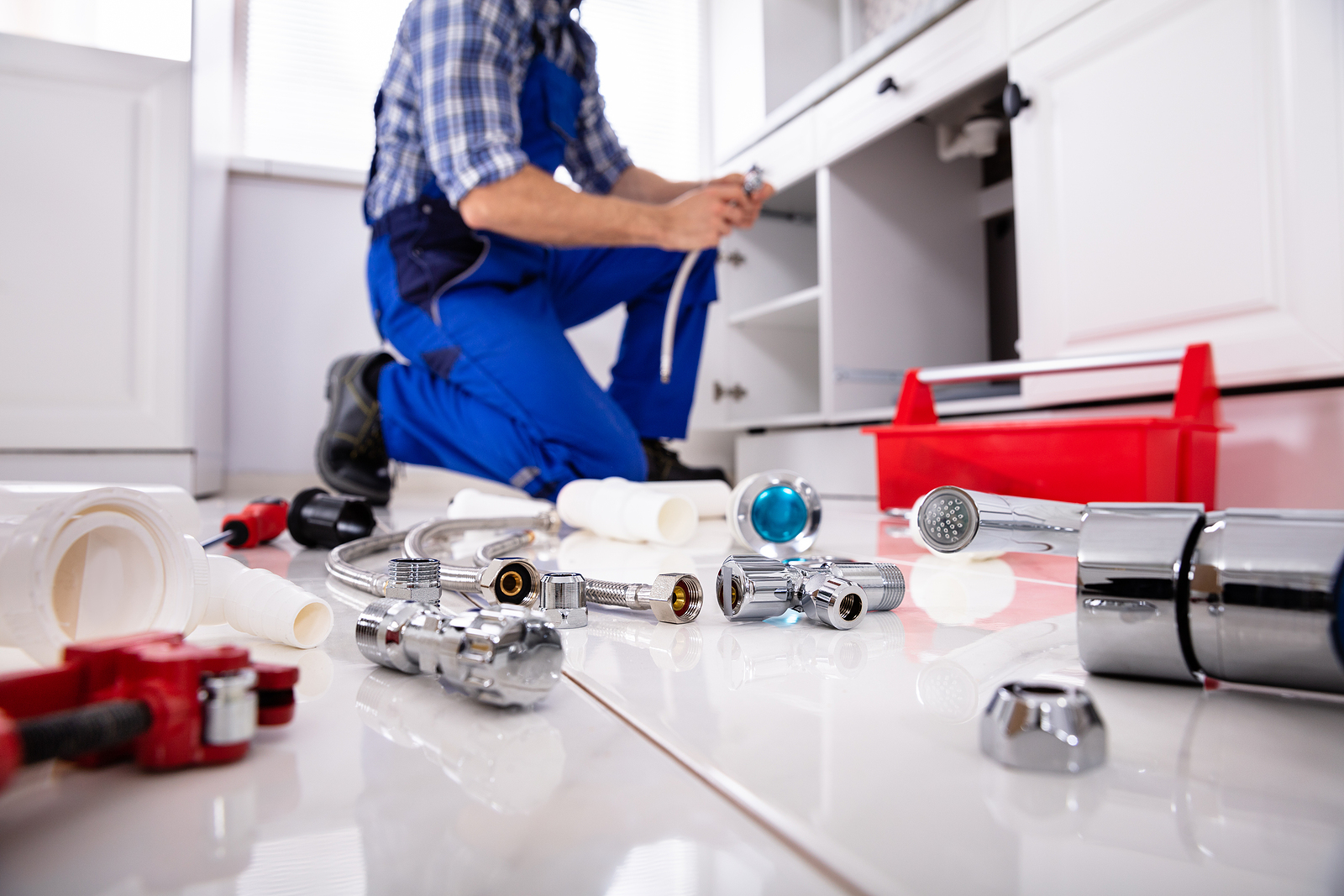 Plumber in Upper Hutt with his tools on the floor